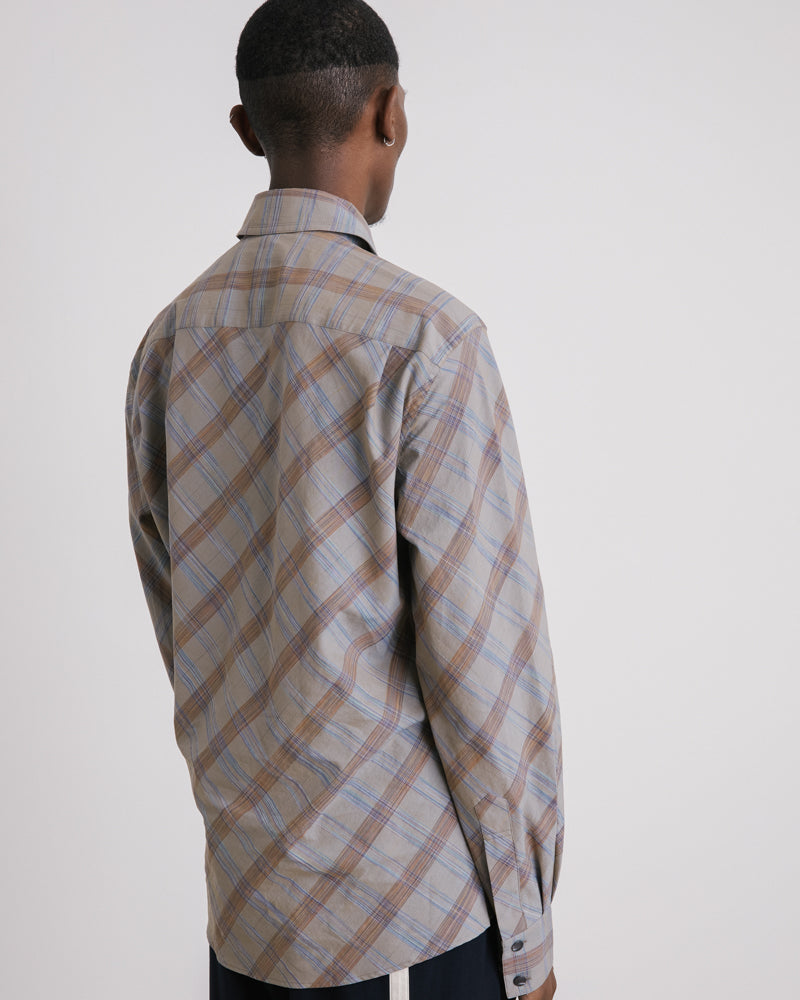 Western Shirt in Grey Check
