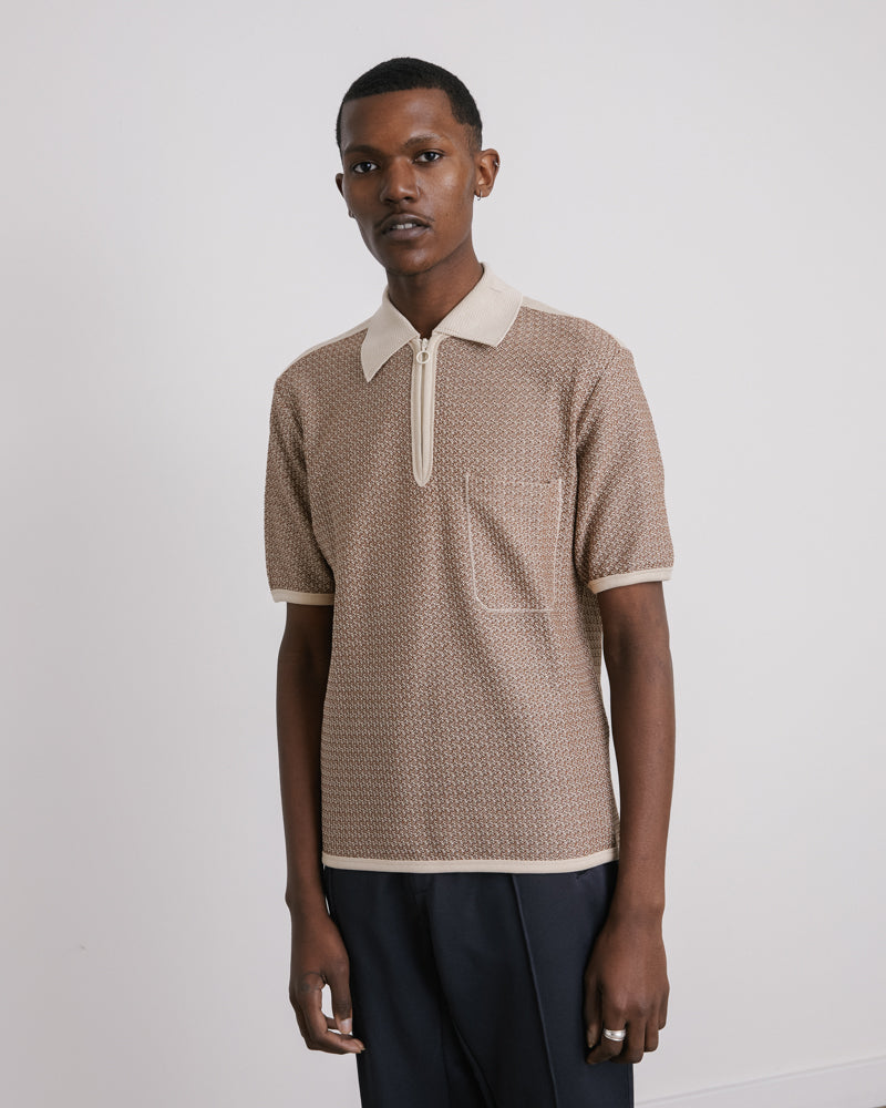 Knitted Jersey Polo in Ecru