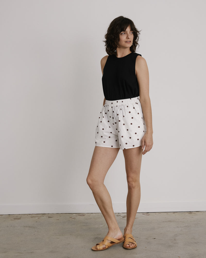 Printed Cotton Poplin Short in Egret