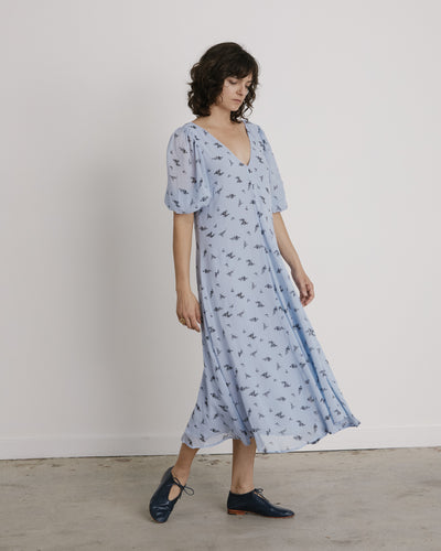Printed Georgette Dress in Brunnera Blue