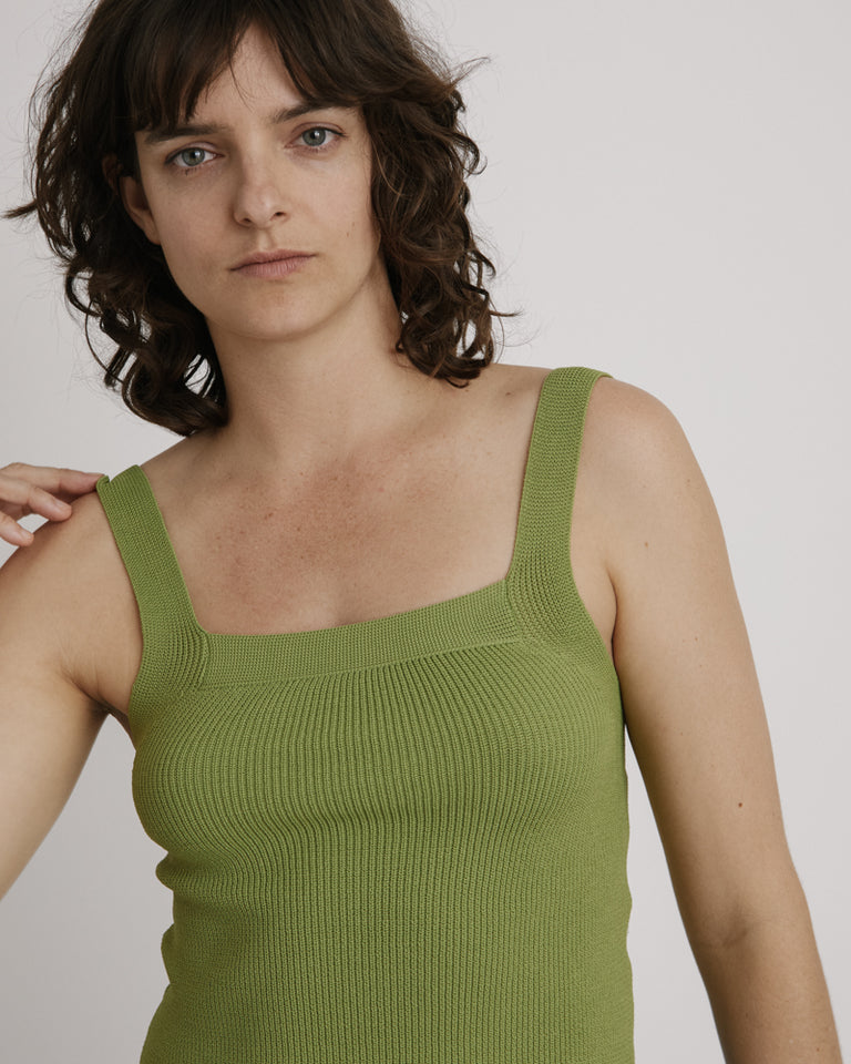 Strap Knit Top in Light Green