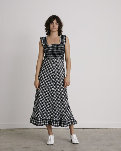 Seersucker Check Dress in Black
