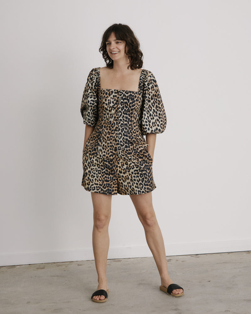 Printed Cotton Poplin Top in Leopard