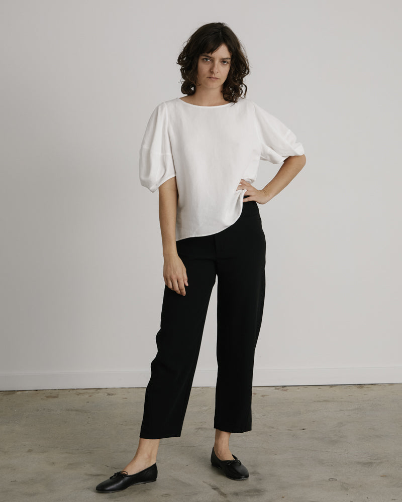 Shaped Trousers in Black Crepe