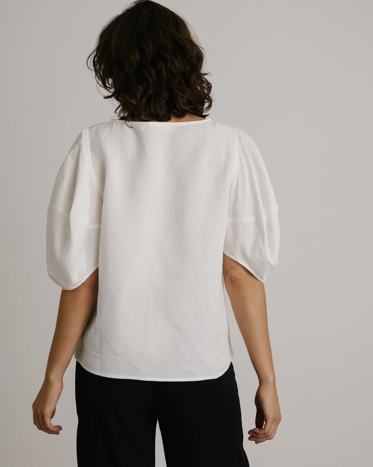 Balloon Sleeve Top in White