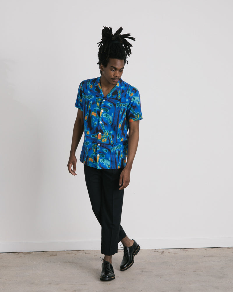 Short Sleeve Notch Print Shirt in Blue Multi