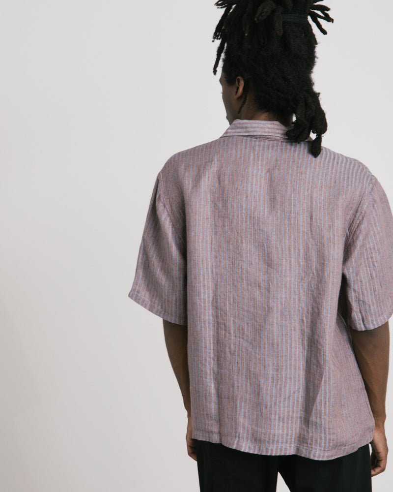 Box Shirt in Linen Stripe