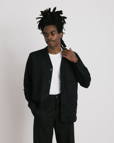 Linen Overshirt in Black