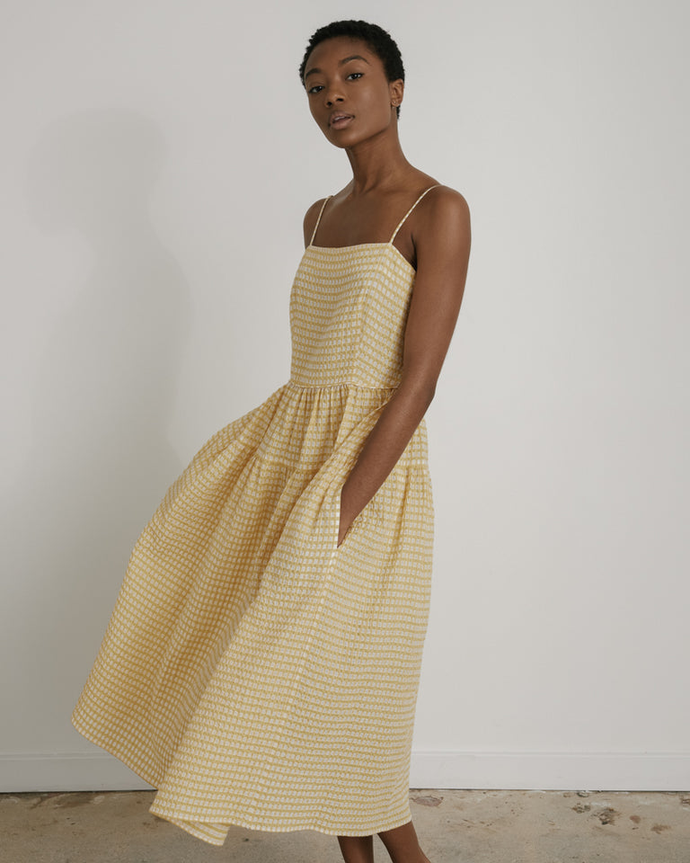 Alexa Dress in Yellow Check