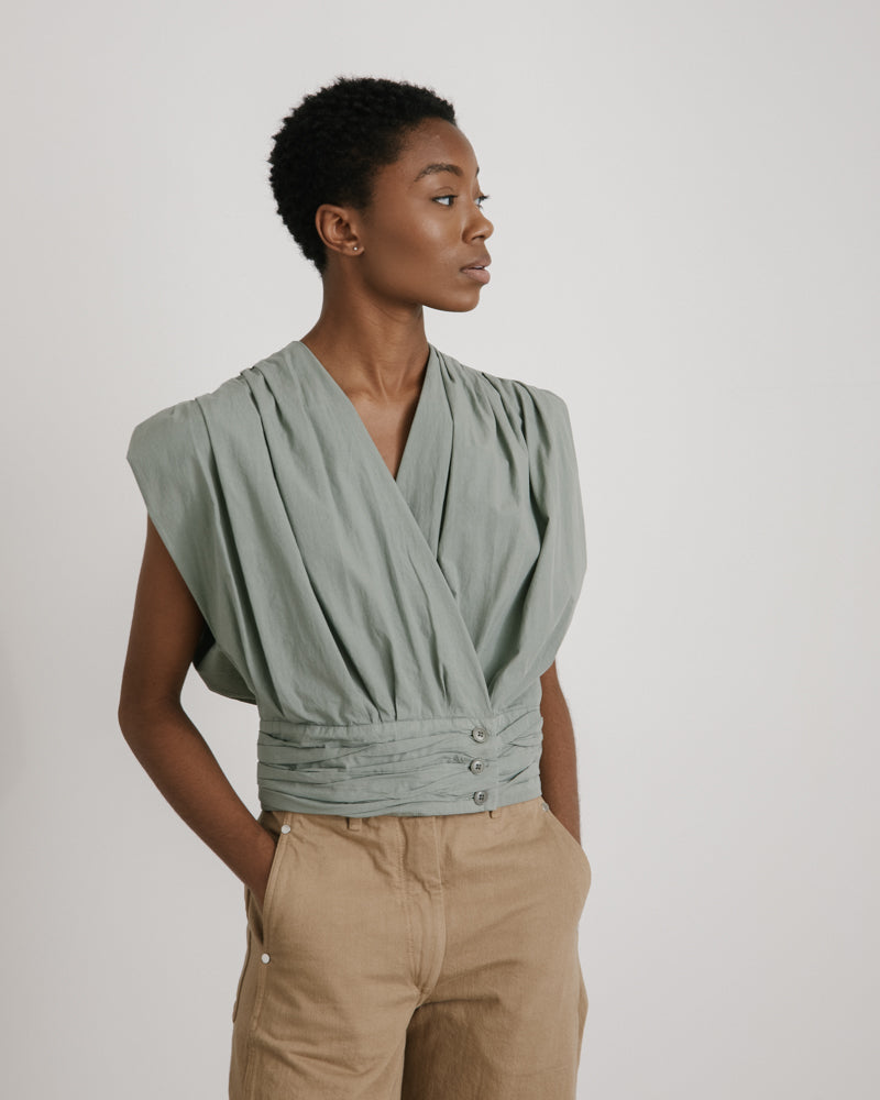Sleeveless Blouse in Khaki Grey