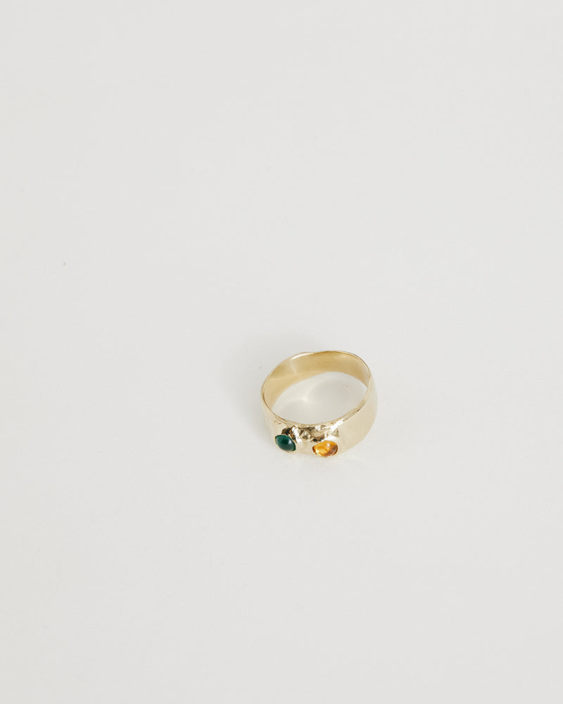 Brass Felt Ring in Green/Yellow