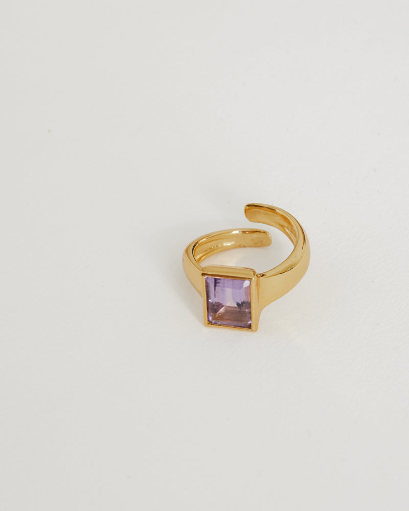 Novelty Ring in 18K Vermeil/Amethyst