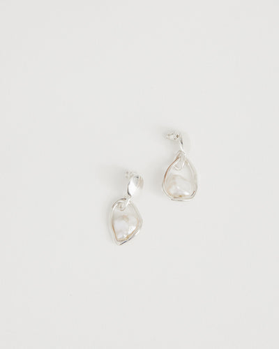 Small Caged Pearl Earrings in Sterling Silver/Keshi pearl
