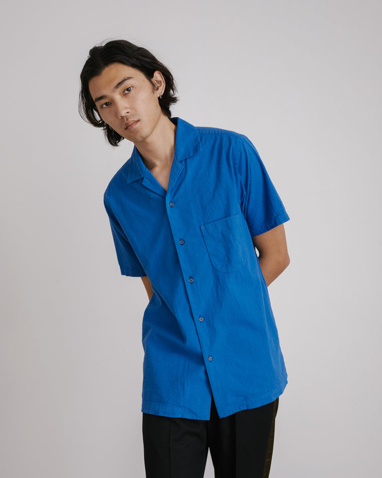 Seersucker Camp Shirt in Klein Blue