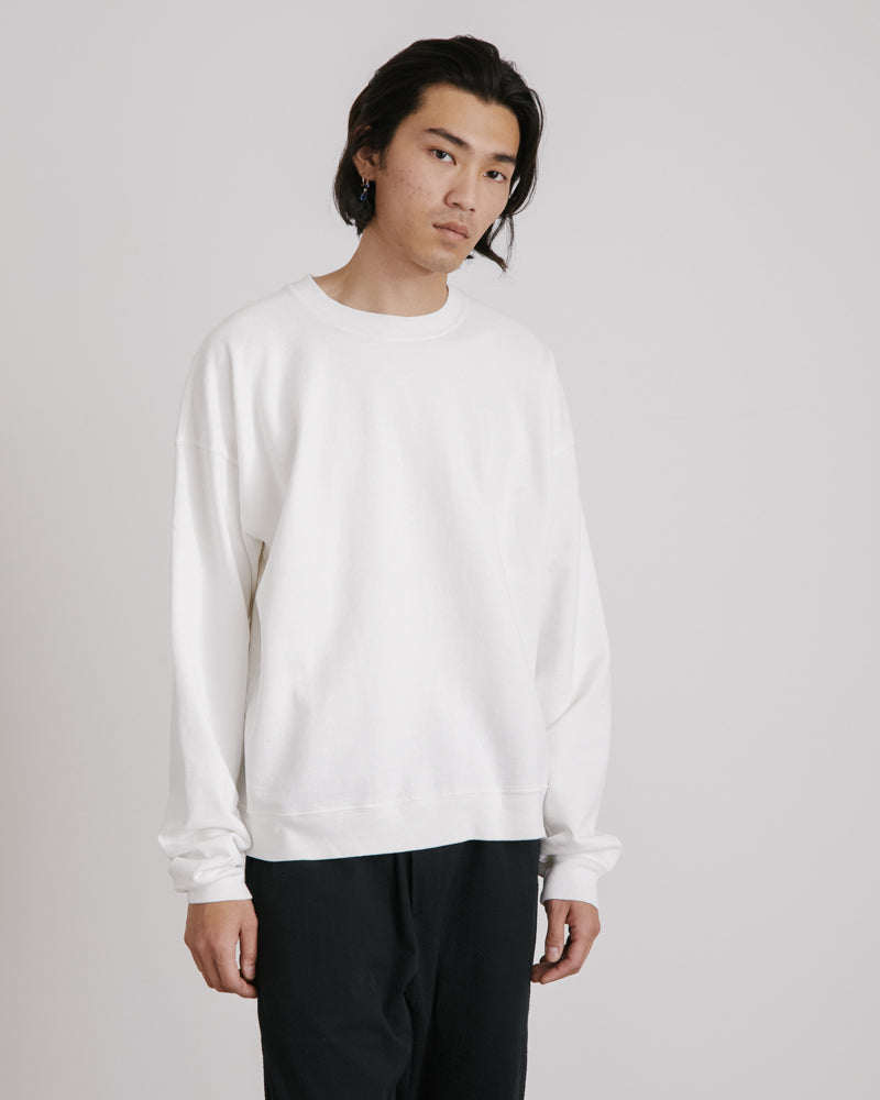 Cropped Crewneck Sweatshirt in Cream