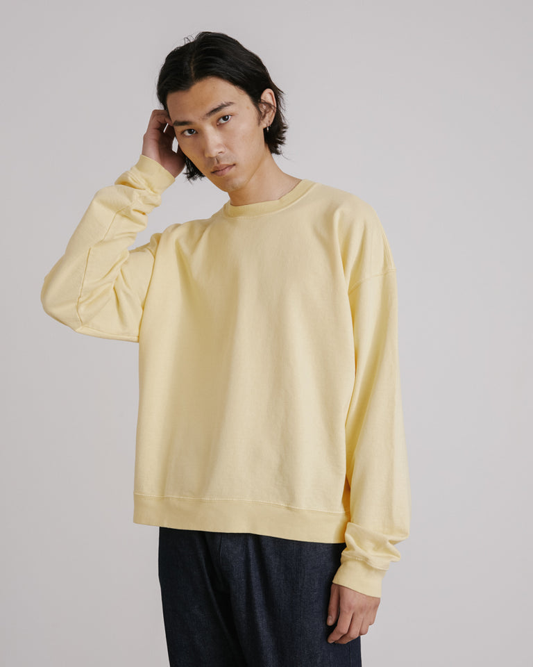 Cropped Crewneck Sweatshirt in Yellow