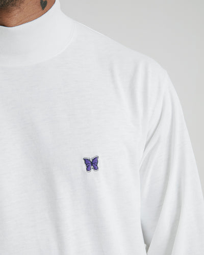Long Sleeve Mock Tee in White