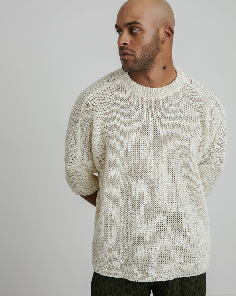 Knitted SS Tee in Kinari