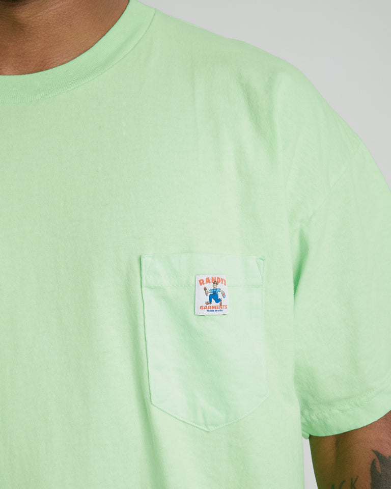 Logo Pocket Tee in Safety Green