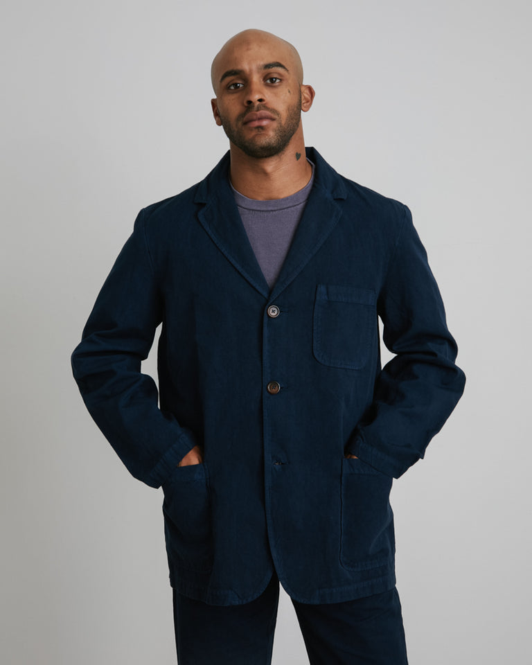 Three Button Jacket in Navy