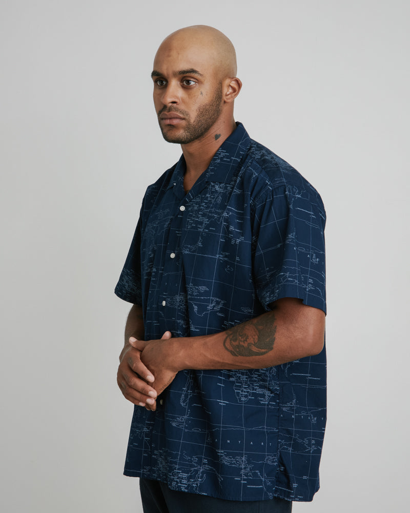 Camp Shirt in Navy Map