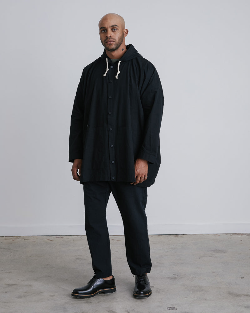 Hooded Shirt Jacket in Black PL