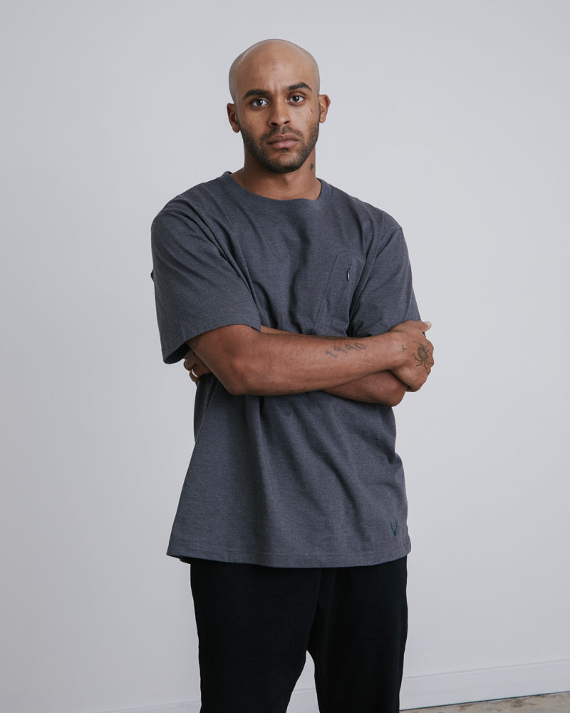 Zip Pocket Tee - Charcoal