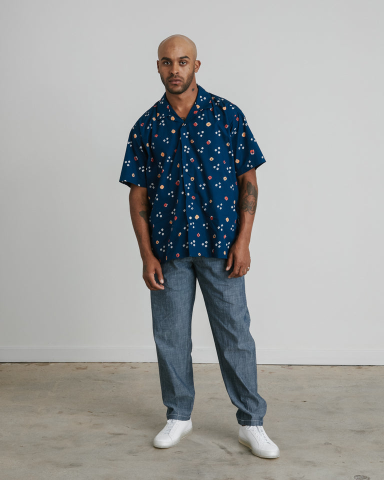 Camp Shirt in Navy Multi