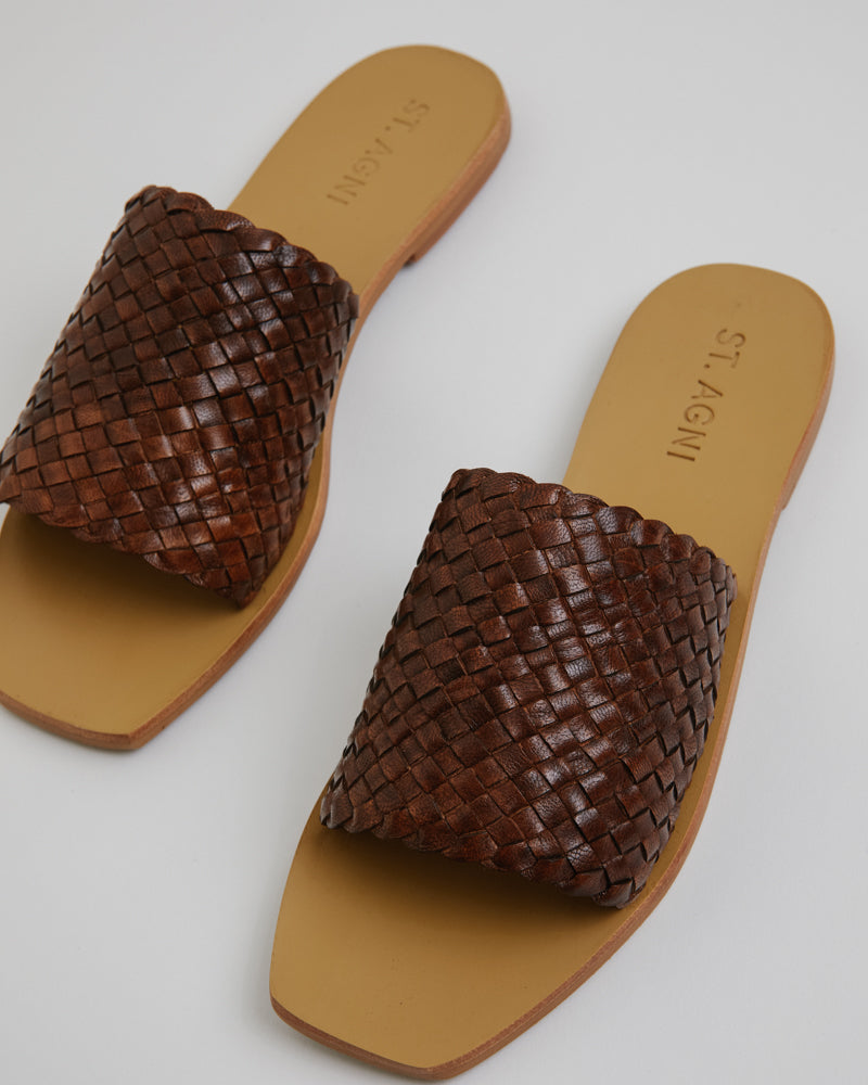 Alice Woven Slide in Antique Tan