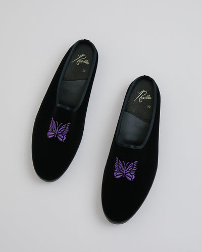 Papillon Embroidered Mule in Black