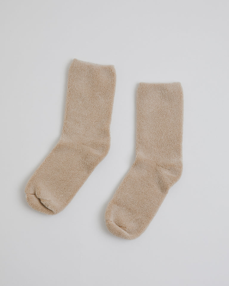 Buckle Overankle Socks in Raw White