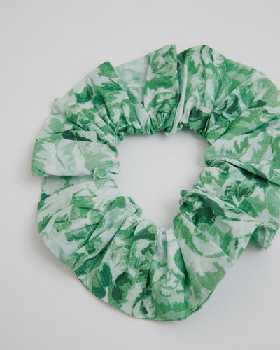 Printed Cotton Poplin Scrunchie in Island Green