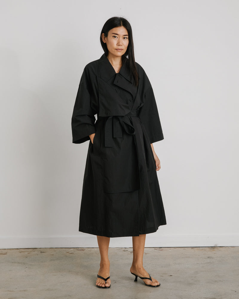 2 Way Trench Coat in Black