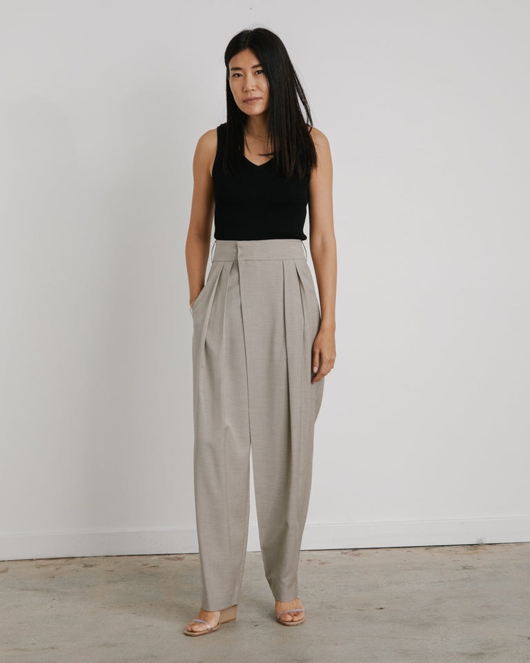 Wide Tuck Pants in Beige