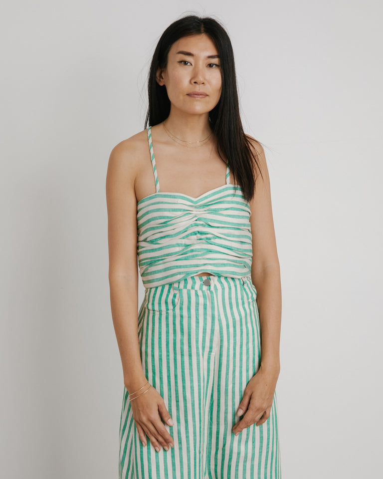 Marry Me Top in Green Stripe