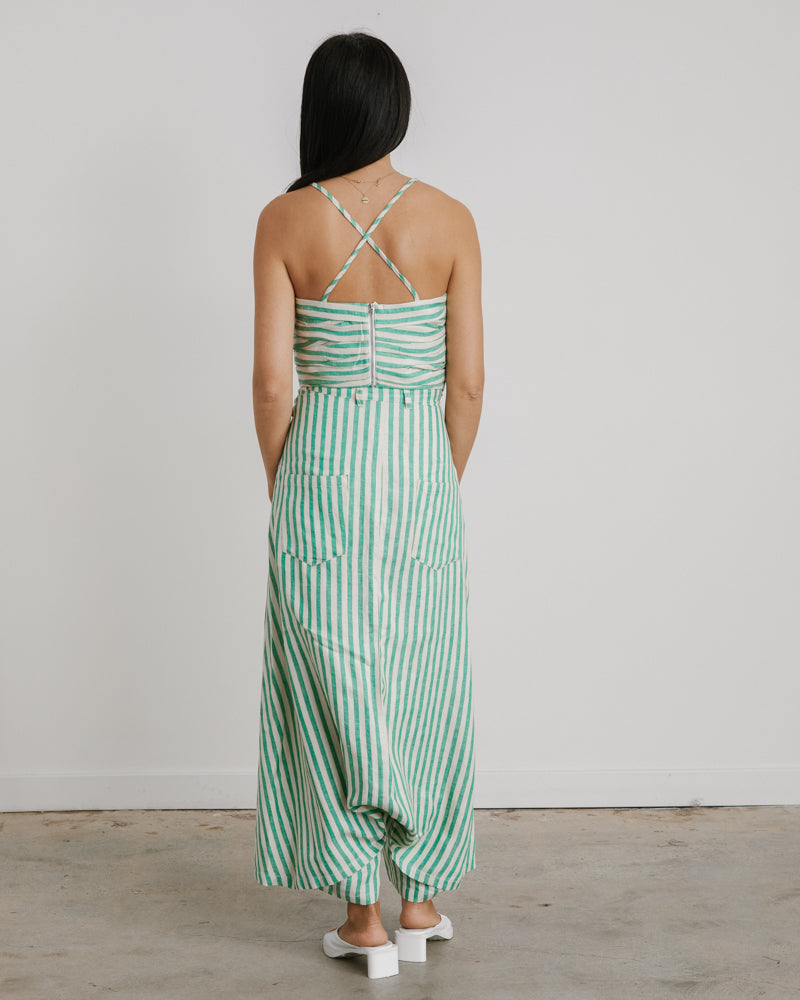 Ravy Pant in Green Stripe