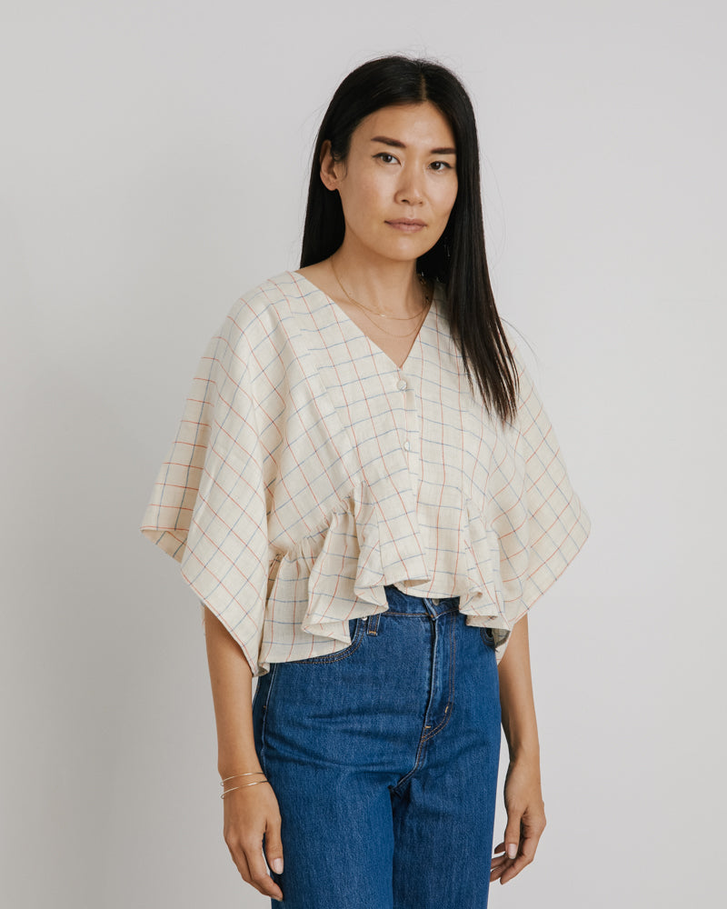 Squid Blouse in Light Thin Check