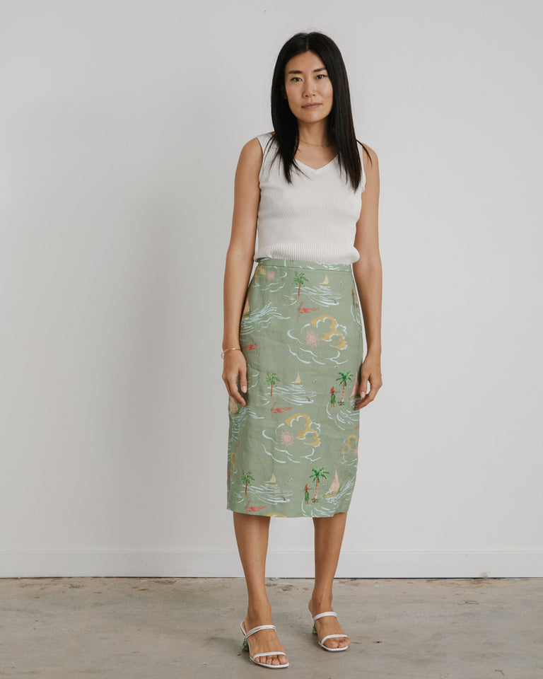 Blair Skirt in Beach Print Khaki