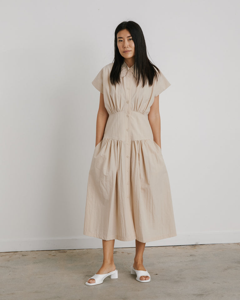 Waist Shirring Dress in Light Beige