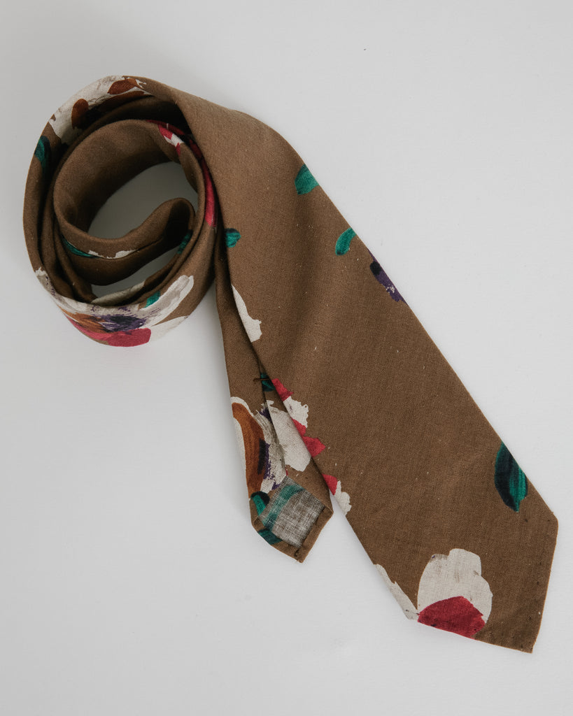 Floral Tie in Bark