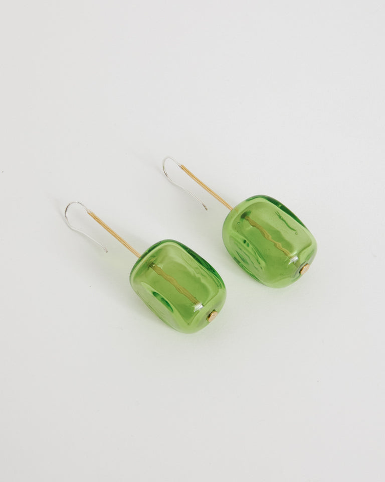 Viva Earrings in Green/Brass
