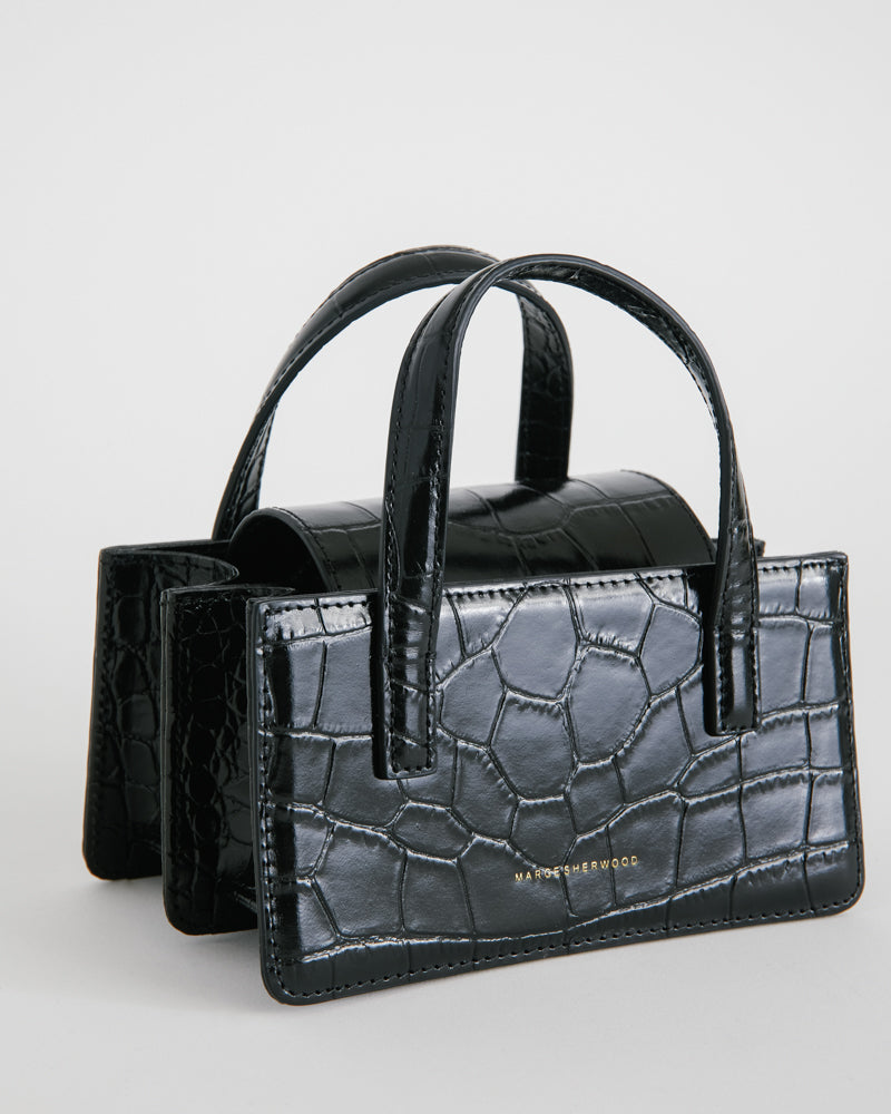 Square Mini in Black Croc