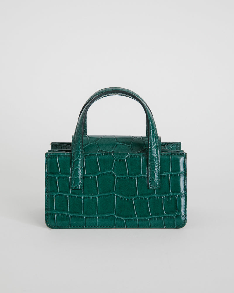 Square Mini in Green Croc