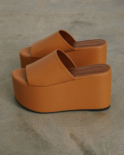 Blackout Platform Shoes in Toffee