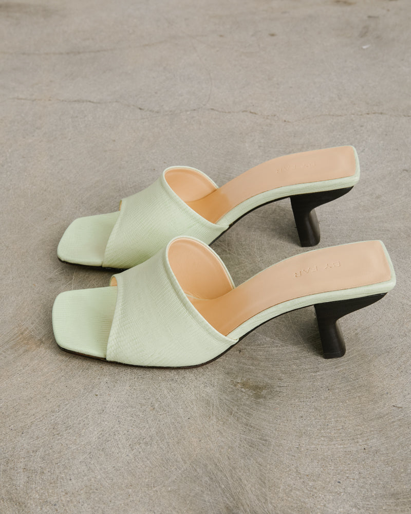 Lizard Embossed Leather Shoe in Sage Green