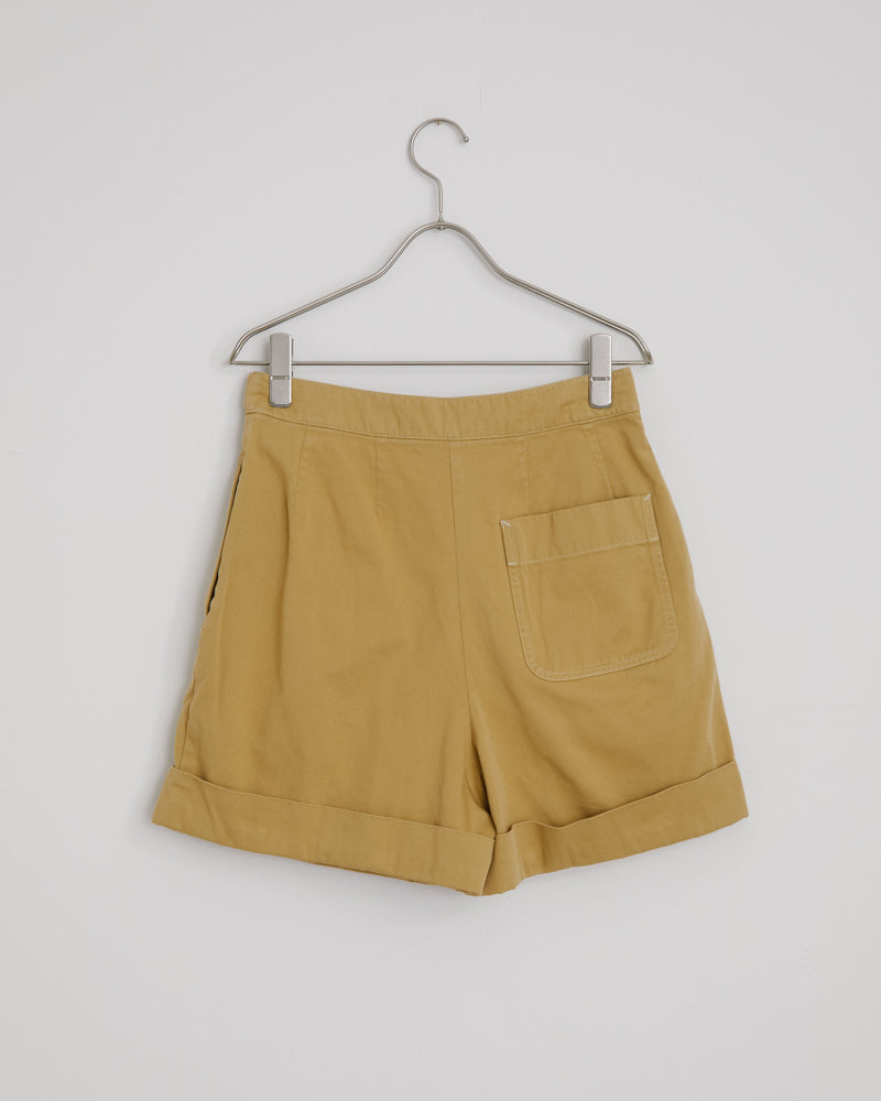 Rowanne Cotton Twill Shorts in Almond Beige