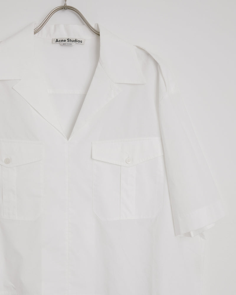 Stina Poplin Blouse in White