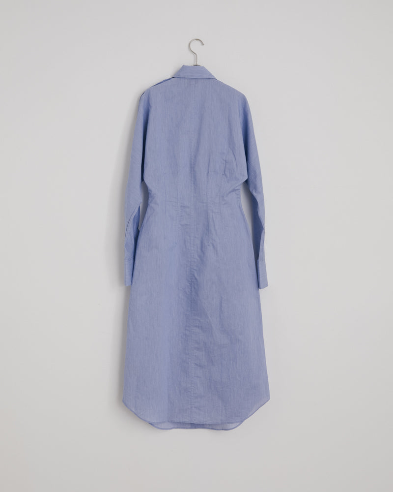 Danete Cotton Po Dress in Powder Blue