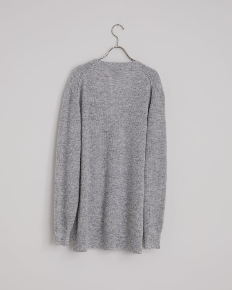 Kianna Light Alpaca Rib Knitwear in Grey Melange