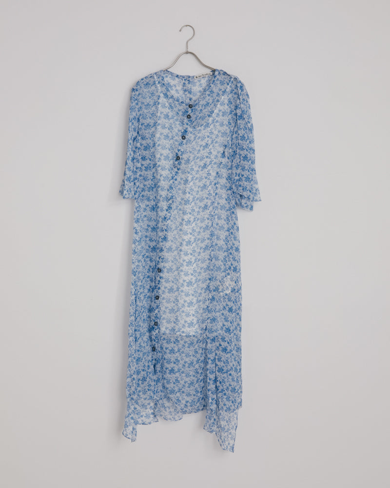 Dagny Chiffon Dress in Blue/White